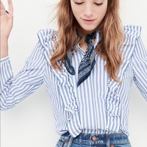Madewell Striped Ruffle Front Blouse